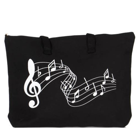 Cotton Canvas Beach Shoulder Bag Music Note - Hautify