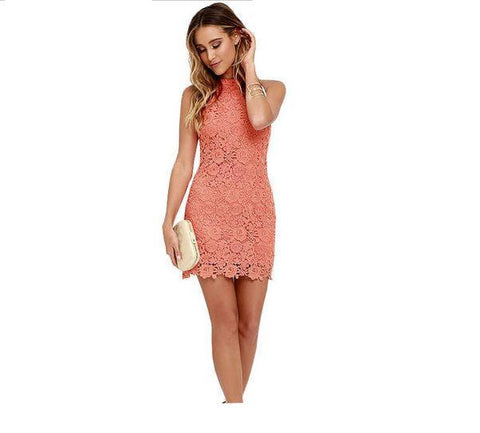 Womens Bodycon Lace Sheath Dress Sleeveless Mini