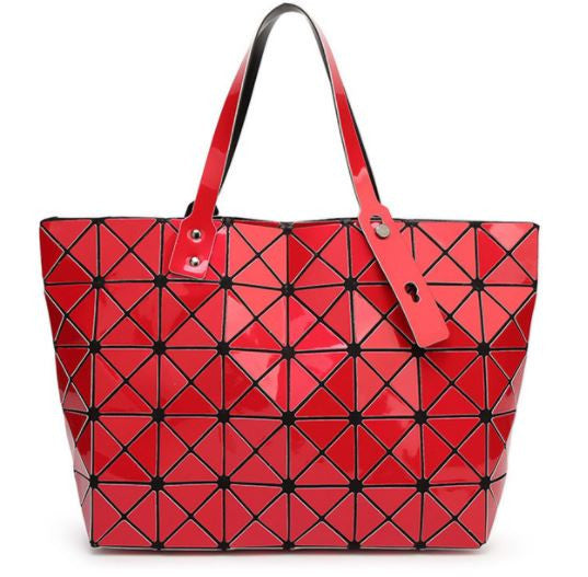 Diamond Print Top Handle Trapeze Bag - Hautify
