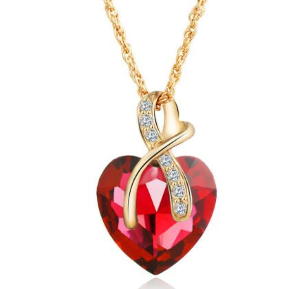 Heart of Gold  Austrian Crystal Pendant Necklace - Hautify