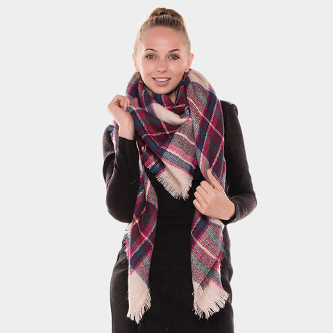 Plaid Checkered Blanket Scarf for Women - Hautify