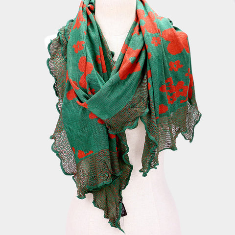 Floral Ruffled Trim Scarf for Women