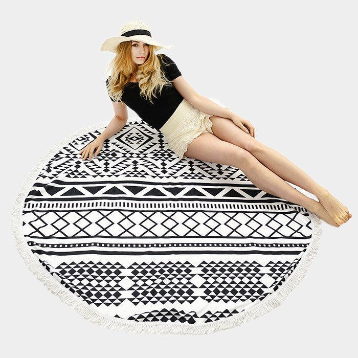 Geo Pattern Round Beach Towel With Tassel Trim - Hautify