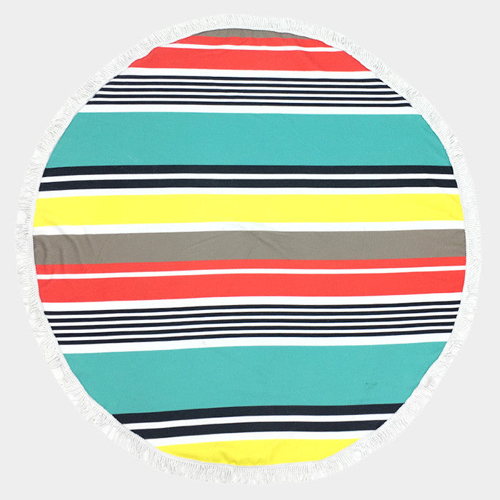 Stripe Round Beach Terry Towel