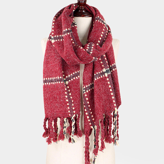 Dotted Plaid Fringe Oblong Scarf