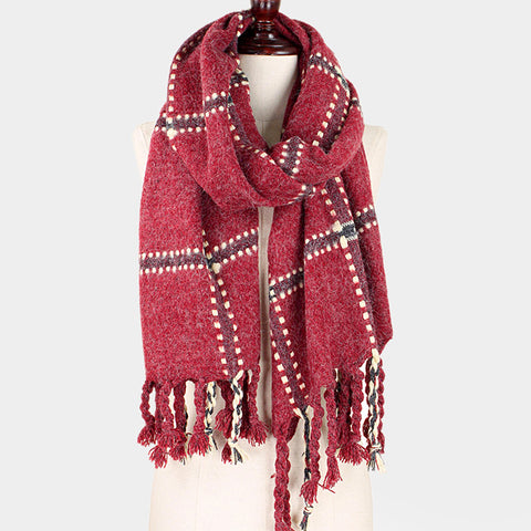 Dotted Plaid Fringe Oblong Scarf - Hautify