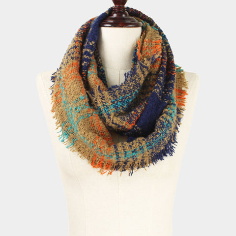 Frayed Plaid Print Infinity Scarf