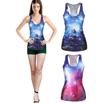 Blue Galaxy 3D Tank Top for Women One Size