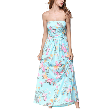 Strapless Floral Print Maxi Dress - Hautify