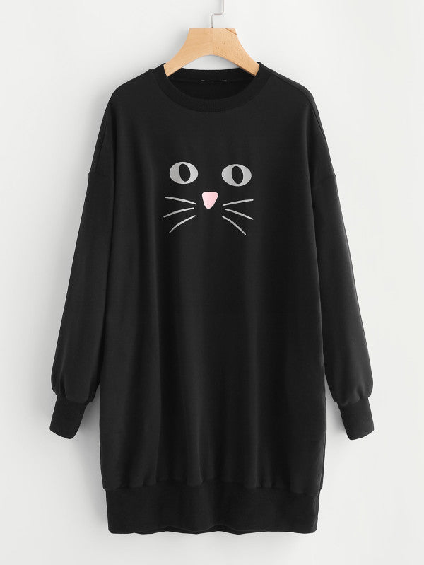 Cat Print Long Sleeved Sweatshirt Dress