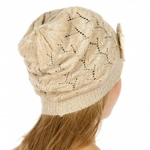 Pointelle Metallic Bow Beanie Taupe