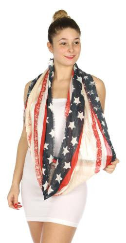 Rustic American Flag Infinity Scarf - Hautify