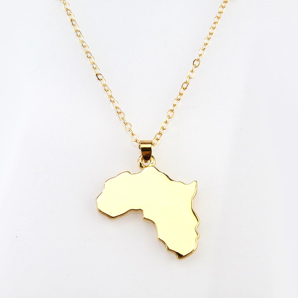 Africa Map Gold Tone Pendant Necklaces for Women Online