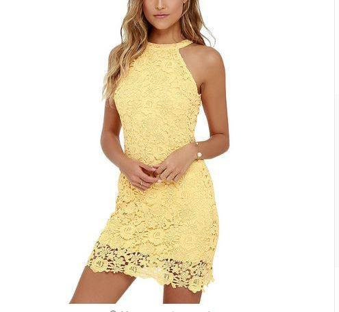 Womens Bodycon Lace Sheath Dress Sleeveless Mini - Hautify