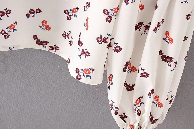 FLoral Print Long Bell Sleeved Chiffon Blouse for Women - Hautify
