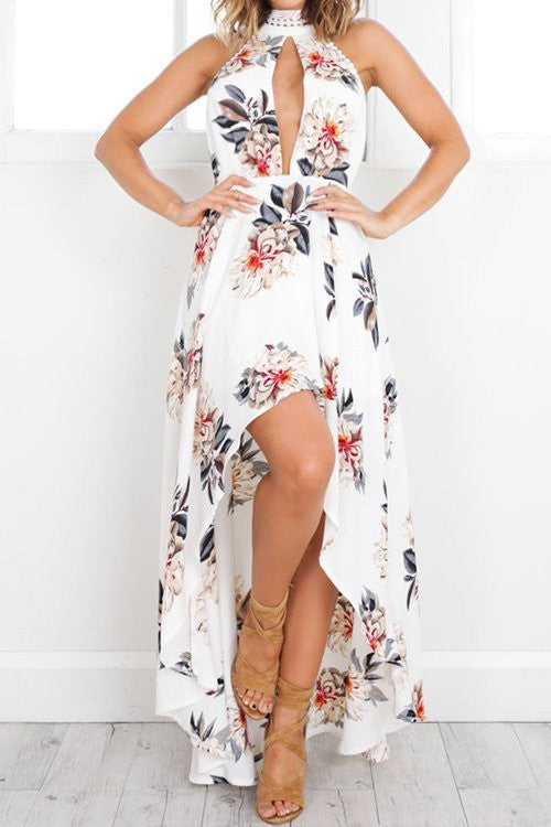 Off Shoulder Print Asymmetrical Cotton Pullovers Bohemian O-neck Less Dresses Bohemian Dress