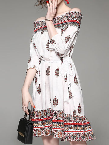Sexy Off Shoulder Print Loose Waist Pullovers Strapless Dresses