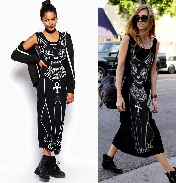 Cat Printed Long Tank Maxi Dress
