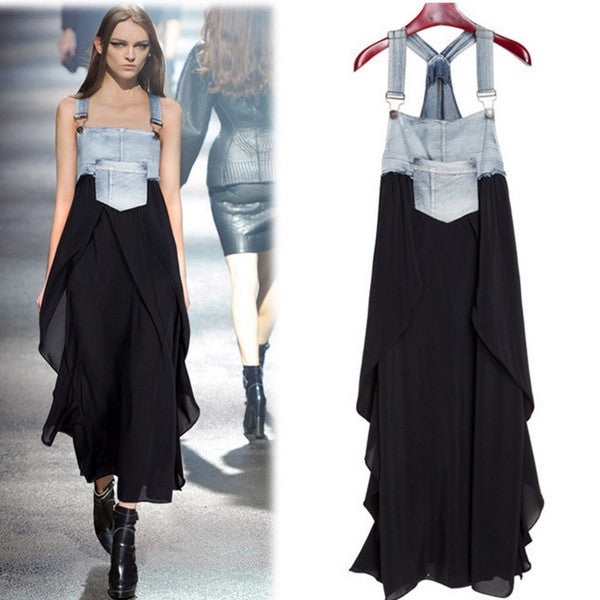 Color Block Boat Neck Denim Patchwork Long Dress