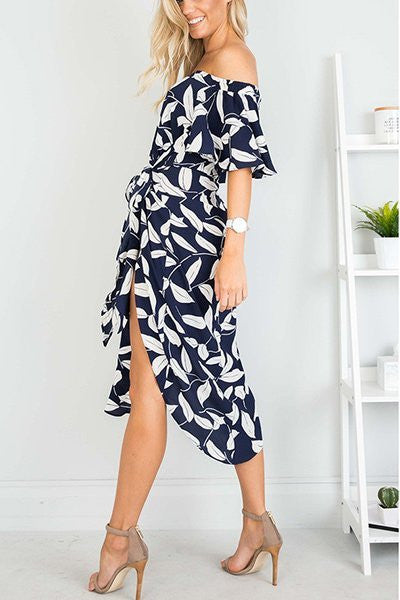 Bateau Neck Short Sleeve Empire Waist Sexy Dress - Hautify