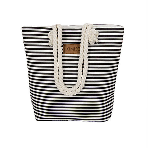 Classic Striped Womens Beach Bag Black/White - Hautify