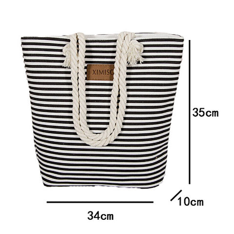 Classic Striped Womens Beach Bag Black/White
