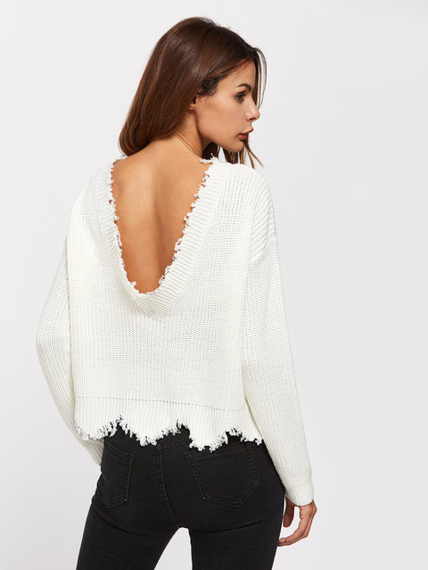 Low Back Knit Sweater With Raw Edges - Hautify