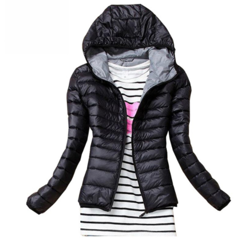 Puffy  Hooded Solid Jacket for Women