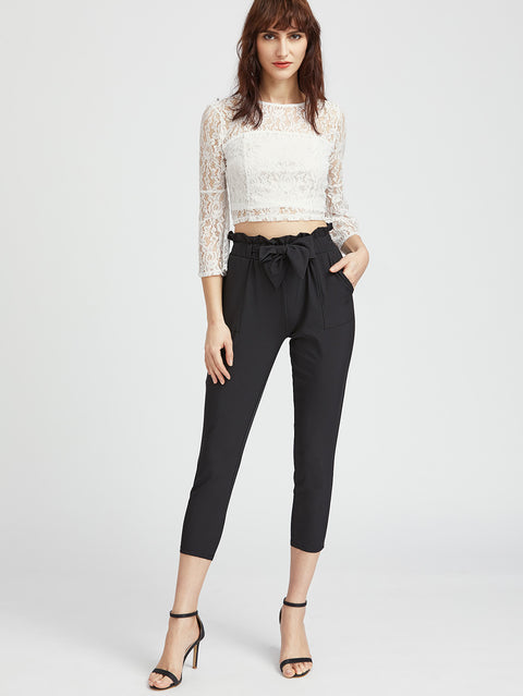 Waist Peg Black High Waisted Trousers - Hautify