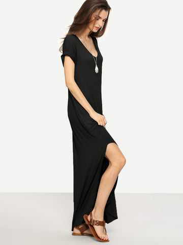Rolled-cuff Pockets Side Split Long Black Dress