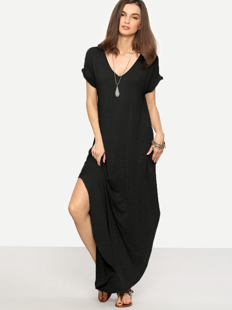 Rolled-cuff Pockets Side Split Long Black Dress - Hautify