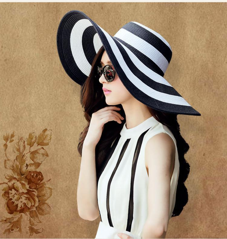 Colorblock Wide Brim Black and White Floppy Sun Hat for Women