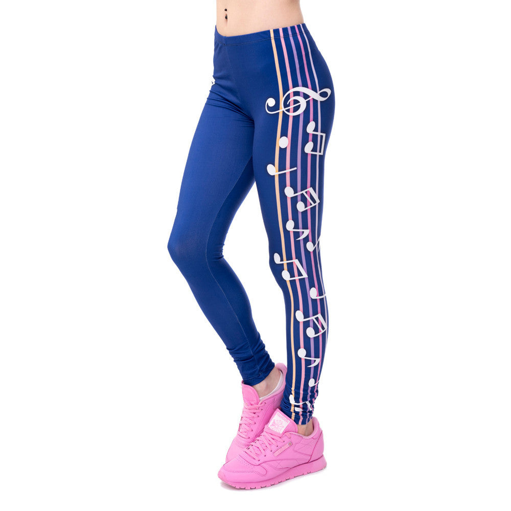 Musical Notes Solid Ankle Length Leggings One Size