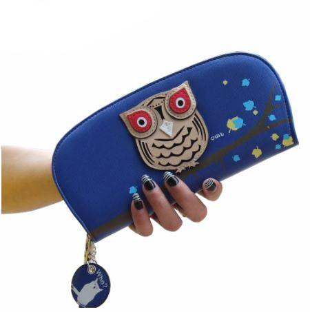 Hooting Owl Curved Zipper Wallet - Hautify
