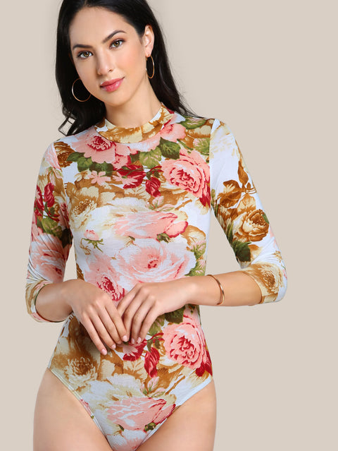 Mock Neck Flower Print Long Sleeved Bodysuit For Women - Hautify