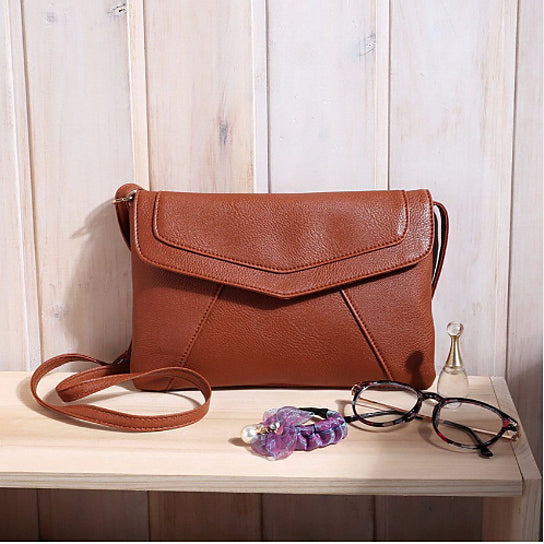 Vintage Leather Envelope Clutch Shoulder Bag for Women