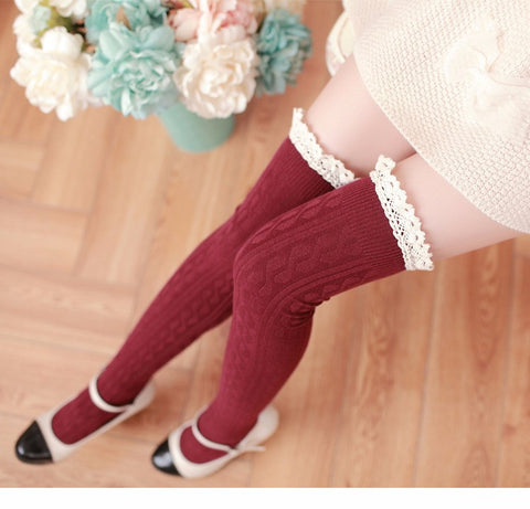 Lace Top Thigh High Ribbed Socks - Hautify
