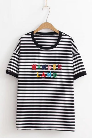 Embroidered Lettering Striped Short Sleeve Casual Tee One SIze