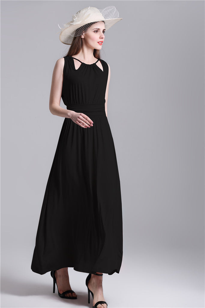 Spliced Open Back Long Beach Halter Neck Bohemian Empire Waist Graceful Less Dresses Bohemian Dress - Hautify