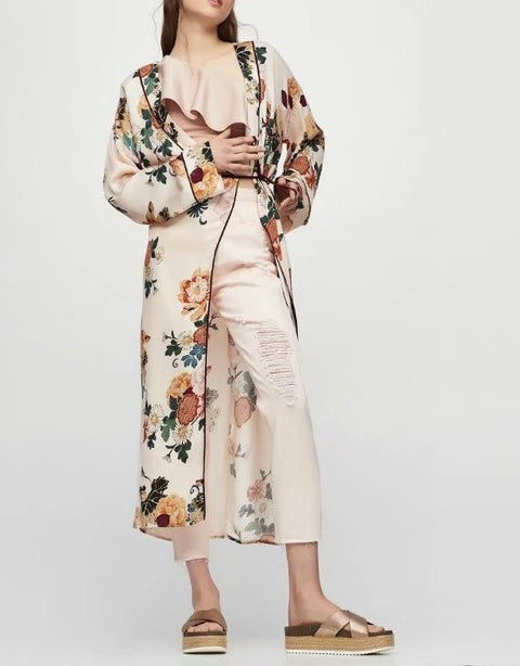 Long Sleeve Print Blouses Cardigan - Hautify