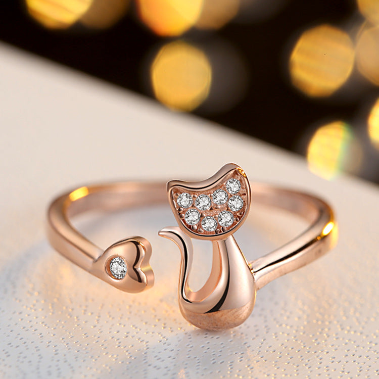 Charm Crystal  Cat Ring Adjustable - Hautify