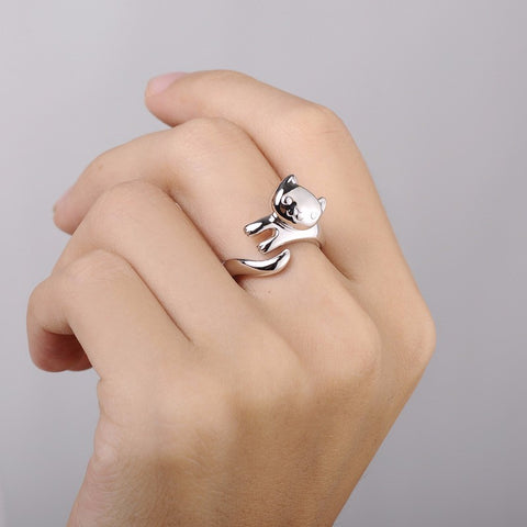 Silver Plated Cute Cat Ring Adjustable - Hautify