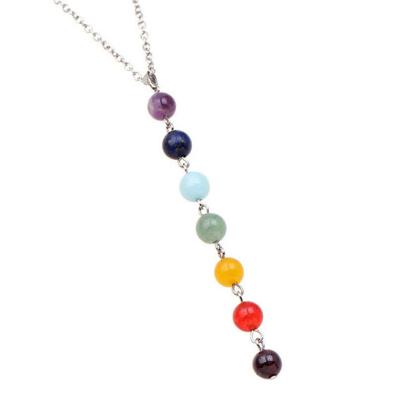 7 Chakra Gem Stone Beads Pendant Necklace - Hautify
