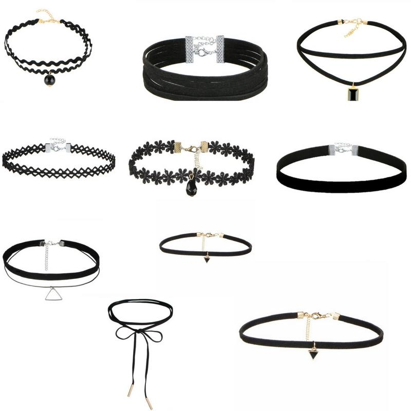 10 PCS/Set Gothic Tattoo Leather Choker Necklaces