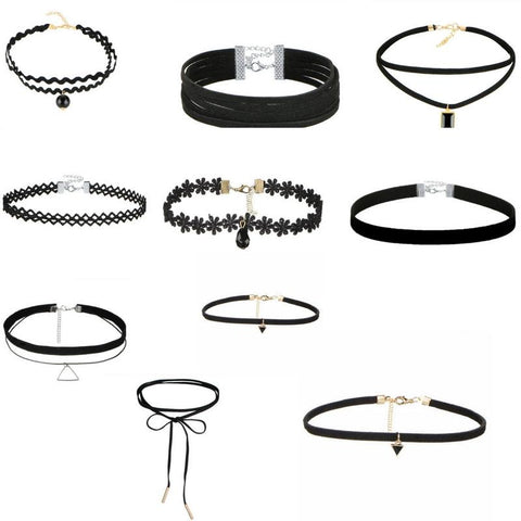10 PCS/Set Gothic Tattoo Leather Choker Necklaces - Hautify