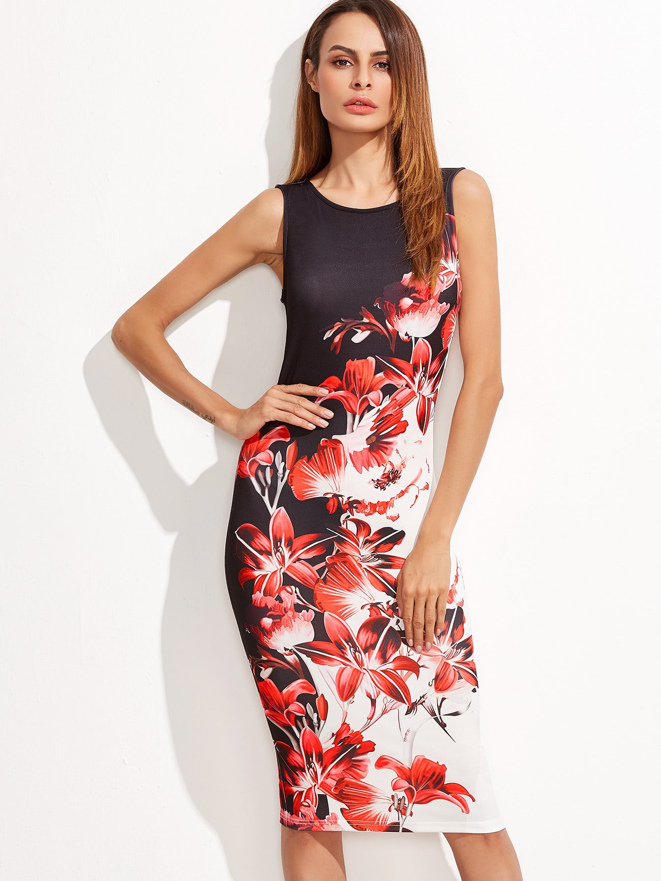 Multicolor Flower Print Sleeveless Pencil Dress