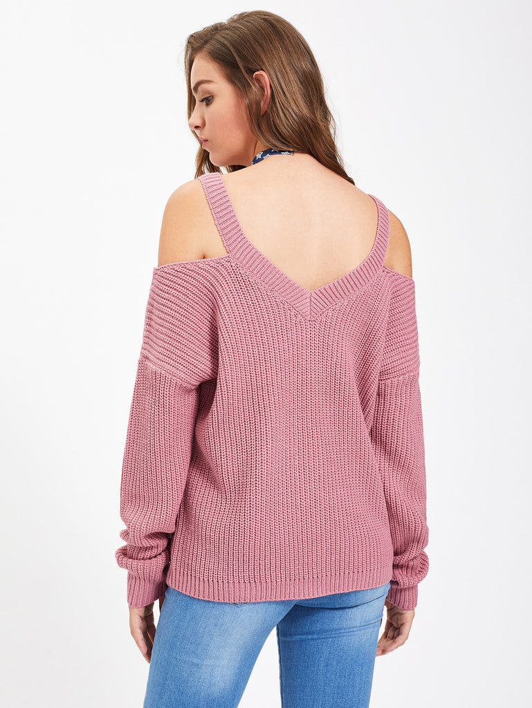 Cold Shoulder Loose Pink Sweater - Hautify
