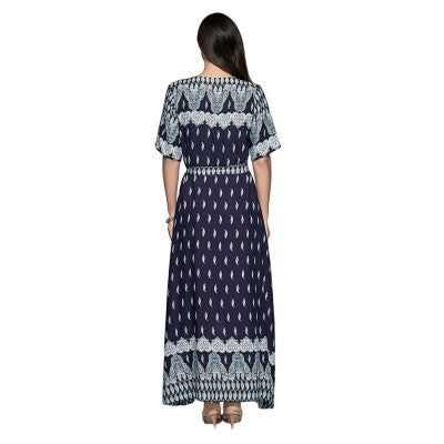 Short Sleeve Print High Slit Tie Women Maxi Dress