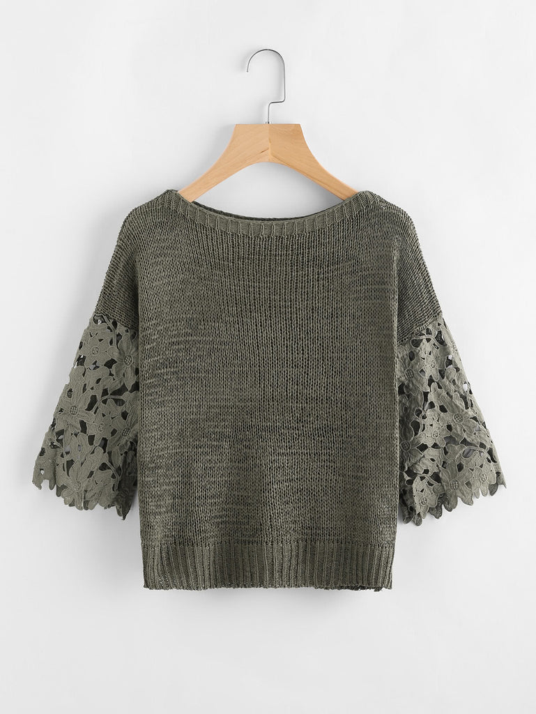 Hollow Out Sleeve Womens Sweater - Hautify