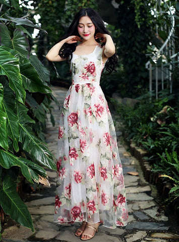Floral Print Floor Length Chiffon Dress